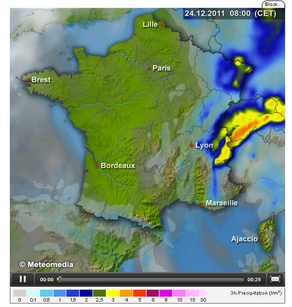 Rain on the northwest side of the Alps. Perfect example of orographic precipitation. Wind from the northwest.