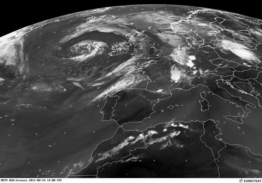 Although the satellite image is a few hours old, the presence of serious TS is visible in the southwest of Germany.  Copyright 2011 EUMETSAT