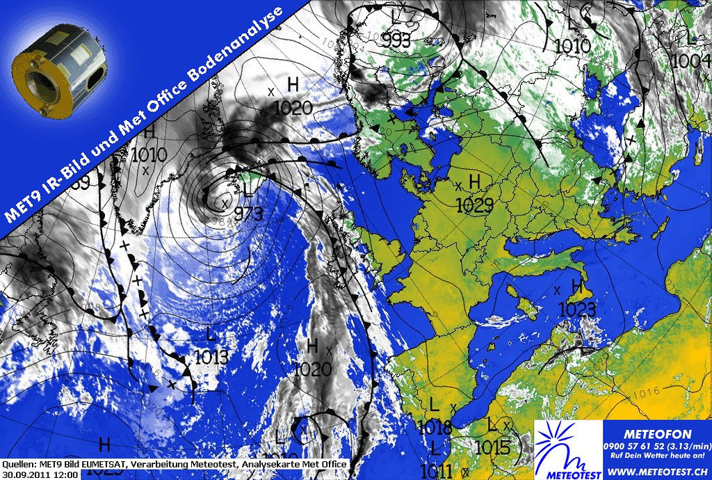 For more than a week, an Indian summer as never seen before is occuring over Europe. This satellite image shows an anticyclone over Central Europe. We have stable, dry air with temperatures up to 28 degrees at the last day of september. Where were you last summer?  Info courtesy of 2011 EUMETSAT, Meteotest and Met Office.