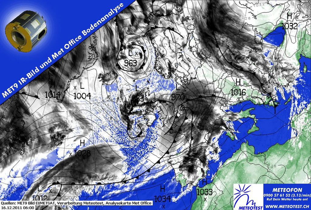 Have a look at this one.  A real Low pressure system (970) moving eastbound over France.  This system is a synonym for real bad weather.  The Metars of Paris Orly below show a period of several hours around this significant weather chart of 0600 UTC.  LFPO 160800Z 26014KT 9999 FEW013 BKN030 09/08 Q0980 NOSIG= LFPO 160730Z 28015KT 9999 -RA SCT013 BKN043 10/09 Q0980 NOSIG= LFPO 160700Z 28018KT 8000 RA FEW014 BKN036 10/10 Q0980 NOSIG= LFPO 160630Z 28025G35KT 6000 RA SCT012 BKN020 10/10 Q0980 NOSIG= LFPO 160600Z 22024G39KT 6000 -RA OVC011 13/12 Q0978 TEMPO 23025G45KT 3000 +RA BKN004= LFPO 160530Z 22024G40KT 6000 -RA OVC011 13/12 Q0979 TEMPO 3000 +RA BKN004= LFPO 160500Z 22023G35KT 190V250 6000 -RA OVC010 13/12 Q0980 NOSIG= LFPO 160430Z 22022G37KT 190V250 7000 -RA SCT008 BKN011 12/12 Q0981 NOSIG= LFPO 160400Z 22021G36KT 190V250 6000 -RA SCT008 BKN011 12/11 Q0982 TEMPO 22025G40KT 3000 RA BKN003= LFPO 160330Z 22020G35KT 6000 -RA SCT008 BKN011 12/11 Q0983 TEMPO 22025G40KT 3000 RA BKN003= LFPO 160300Z 22021G35KT 6000 RA SCT008 BKN010 11/11 Q0984 TEMPO 22025G40KT 3000 RA BKN003= LFPO 160230Z 21024G38KT 6000 RA SCT008 BKN011 11/10 Q0985 TEMPO 22025G40KT 3000 RA BKN003= LFPO 160200Z 22023G38KT 190V250 6000 RA BKN012 11/10 Q0986 TEMPO 22025G40KT 3000 RA BKN003=  Info courtesy of 2011 EUMETSAT, Meteotest and Met Office.